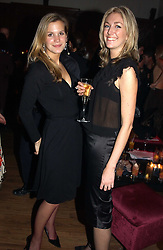 Left to right, MISS CLEMENTINE BROWN and MISS SOPHIE LLOYD at a party to celebrate the 4th anniversary of Quintessentially held at 11 Grosvenor Place, London  SW1 on 14th December 2004.<br />