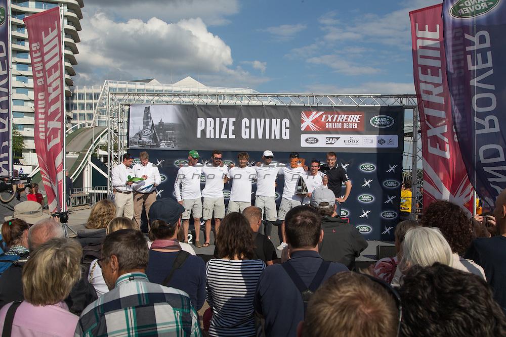 2015 Extreme Sailing Series - Act 5 - Hamburg.<br /> Prize Ceremony at the Extreme Sailing Series 2015, act 5 Hamburg.<br /> Credit Jesus Renedo.