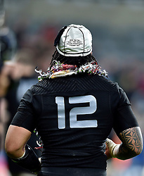 A general view of Ma'a Nonu wearing his commemorative cap on the occasion of his 100th appearance for New Zealand - Mandatory byline: Patrick Khachfe/JMP - 07966 386802 - 09/10/2015 - RUGBY UNION - St James' Park - Newcastle, England - New Zealand v Tonga - Rugby World Cup 2015 Pool C.