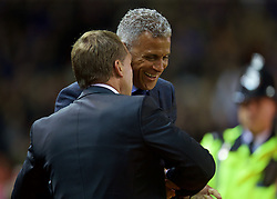 LIVERPOOL, ENGLAND - Wednesday, September 23, 2015: Liverpool manager Brendan Rodgers with Carlisle United manager Keith Curle before the Football League Cup 3rd Round match against Carlisle United at Anfield. (Pic by David Rawcliffe/Propaganda)