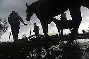 BEA AHBECK CASSON/NEWS-SENTINEL<br /> The rain caused the ground to become very muddy for the performance of the Caballeros de Wilton during the Ponylandia event in Galt Saturday, Feb. 7, 2015. The event was organized by Colonia Madero Apoz&oacute;l-Zacatecas, a Mexican branch of a non-profit group that is part of Filsa - (federacion internacional de zacatecas los angeles), an organization<br /> of immigrants that help raise money for their hometowns in Mexico. Each club, or branch, run their own activities to raise money to make things happen in their own area in Mexico. Each member of the group donate a certain amount of money to pay for projects in Mexico, and they organize events to raise funds for special projects. Projects include building infrastructure such as clean water, pavement, schools, hospitals and electricity, according to the group's website (http://federacionzacatecana.org/acerca/historia/). The projects are also aimed at creating work opportunities in their home towns. The group Colonia Madero Apoz&oacute;l-Zacatecas raise money for the town of  Colonia Francisco imadero Apoz&oacute;l-Zacateca,  a small town with about 200 people, in the state of Zacatecas. The material for the projects will also be purchased locally.