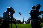 """President Barack Obama leaves on Marine One from the South Lawn of the White House as he travels to join Education Secretary Arne Duncan for his sixth annual """"Back-to-School bus tour,"""" in Des Moines, Iowa U.S., on Monday, Sept. 14, 2015.  Obama and Duncan will host a town hall at North High School to discuss college access and affordability as well as changes to the college financial aid system to allow more flexible deadlines. Photo: Pete Marovich/Bloobmerg/Pool"""