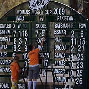 Scoreboard attendants adjust the score as India and Pakistan compete in the first match of group B of the ICC Women's World Cup Cricket  at the picturesque setting of Bradman Oval, Bowral in the New South Wales Southern Highlands, Australia on March 7, 2009. Pakistan were bowled out for 57 while Indian won the match reaching 58 without loss.Photo Tim Clayton