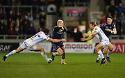 Exeter Chiefs centre Ian Whitten  tackles Sale Sharks stand-off James O'Connor during the The Aviva Premiership match Sale Sharks -V- Exeter Chiefs  at The AJ Bell Stadium, Salford, Greater Manchester, England on Friday, October 27, 2017. (Steve Flynn/Image of Sport)