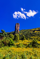 "A rock formation called ""The Devils Nose (or Tikil Dingay)"", with mustard flowers in foreground, near Gondar, Ethiopia."