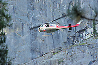 USGS Helicopter checking out the rock slide site. Rock Slide at Curry Village in Yosemite Valley on 07-October-2008.