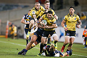 Nehe Milner-Skudder on attack during the Super Rugby match, Brumbies V Hurricanes, GIO Stadium, Canberra, Australia, 30th June 2018.Copyright photo: David Neilson / www.photosport.nz