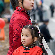 Girls in Traditional Costume at Chinese New Year Festival in Chinatown, New York