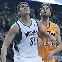 04 October 2010: Los Angeles Lakers forward Pau Gasol #16 vies with Minnesota Timberwolves center Darko Milicic #31 during the Minnesota Timberwolves 111-92 victory over the Los Angeles Lakers, during 2010 NBA Europe Live, at the O2 Arena in London, England.