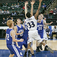 Forward Cid Strickland (33) reaches for a reabound in a crowd of Norwest Lion defenders.