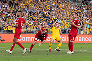 SYDNEY, AUSTRALIA - NOVEMBER 20: Lebanon player WAlid Ismail (18) and Australian forward Andrew Nabbout (11) come together at the international soccer match between Australia and Lebanon at ANZ Stadium in NSW, Australia. on November 20, 2018. (Photo by Speed Media/Icon Sportswire)
