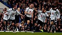 Photo: Ed Godden.<br />Chelsea v Fulham. The Barclays Premiership. 30/12/2006.<br />Fulham's Moritz Volz (C) celebrates his goal to make it 1-0.