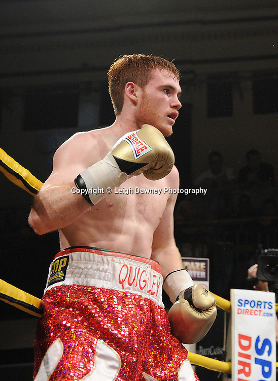 Nick Quigley (pictured) defeats Stephen Harkin in Quarter Final Four of Prizefighter  - The Light Middleweights II. York Hall, Bethnal Green, London, UK. 15th September 2011. Photo credit: © Leigh Dawney.
