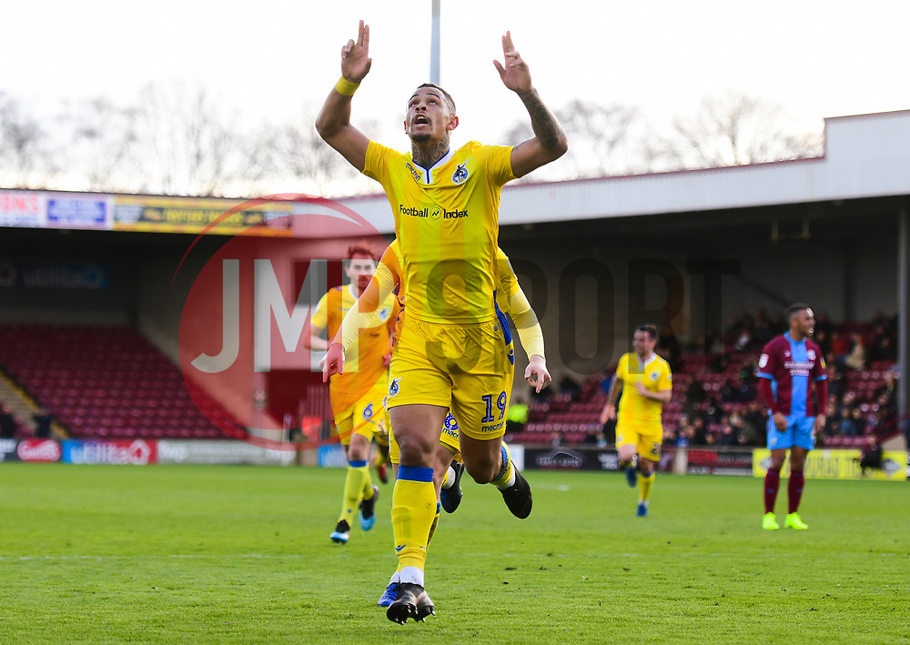 Jonson Clarke-Harris of Bristol Rovers celebrates. - Mandatory by-line: Alex James/JMP - 09/03/2019 - FOOTBALL - Glanford Park - Scunthorpe, England - Scunthorpe United v Bristol Rovers - Sky Bet League One