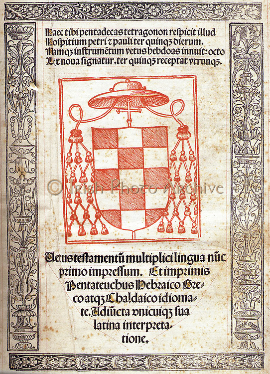 The Complutensian Polyglot Bible is the name given to the first printed polyglot of the entire Bible, planned and financed by Cardinal Cisneros (1436-1517). It includes the first printed editions of the Greek New Testament, the complete Septuagint, and the Targum Onkelos. Of the 600 printed, only 123 are known to have survived to date.