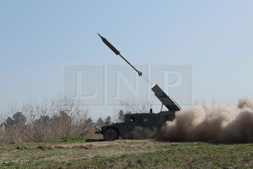© London News Pictures. 24/02/2017. Mosul, Iraq. Iraqi Emergency Response Division troops fire a locally made rocket as they attempt to stop ISIS militants preparing a vehicle borne suicide bomb that will be used against Iraqi Security Forces. Operations to retake western Mosul from the Islamic State continued today and saw Iraqi troops enter the edges of southern neighbourhoods. Matt Cetti-Roberts/LNP
