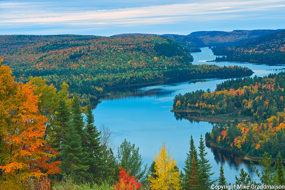 Autumn  colors and Lac Wapizagonke in the Laurentian Mountains from the viewpoint of 'Le Passage'.  Great Lakes - St.  Lawrence Forest Region.<br />