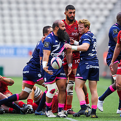 Sione ANGAAELANGI of Stade Francais celebrates during the Top 14 match between at Stade Jean Bouin on October 13, 2019 in Paris, France. (Photo by Sandra Ruhaut/Icon Sport) - Sione ANGAAELANGI - Stade Jean Bouin - Paris (France)
