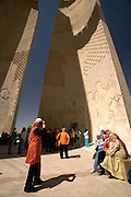 Monument at the High Dam  Built to commemorate the Soviet Union's support in building the dam  Aswan, Egypt