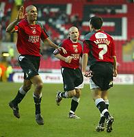 Photo: Aidan Ellis.<br /> Darlington v Swansea City. The FA Cup. 02/12/2006.<br /> Swansea's Darren Pratley congratulate's Leon Britton after his equaliser