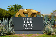 La Brea Tar Pits Gold Tiger Sculpture Monument
