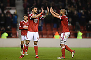 Nottingham Forest forward Apostolos Vellios (39) high-fives Nottingham Forest midfielder Adlene Guedioura (5) after scoring the Reds goal number 3 during the EFL Sky Bet Championship match between Nottingham Forest and Barnsley at the City Ground, Nottingham, England on 24 April 2018. Picture by Jon Hobley.