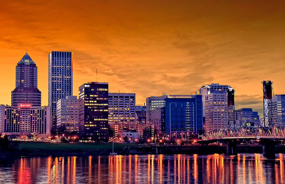 Portland Skyline during Sunset