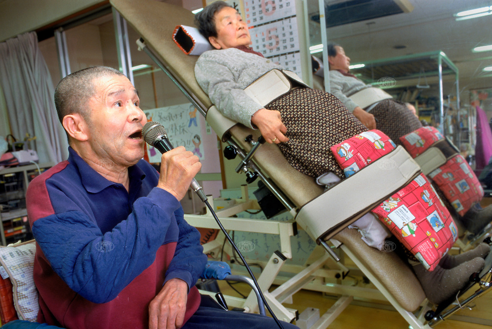 Original caption: Tokyo, Japan: Shisei home for the aged and senior day care center. August 1998 Tokyo, Honshu, Japanphoto credit ©Tom Wagner.<br /> image ©Tom Wagner 2006, Moral Rights Asserted<br /> www.tomwagnerphoto.com<br /> England phone +44-07793-459245