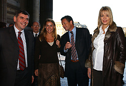 BRUSSELS, BELGIUM - NOV-9-2004 - Belgian Court of Appeals decision in the trial against the Flemish extreme right political party Vlaams Blok. (PHOTO © JOCK FISTICK)..Filip Dewinter - Mary-Rose Morel - Frank Vanhecke - Anke Vandermeersch<br />