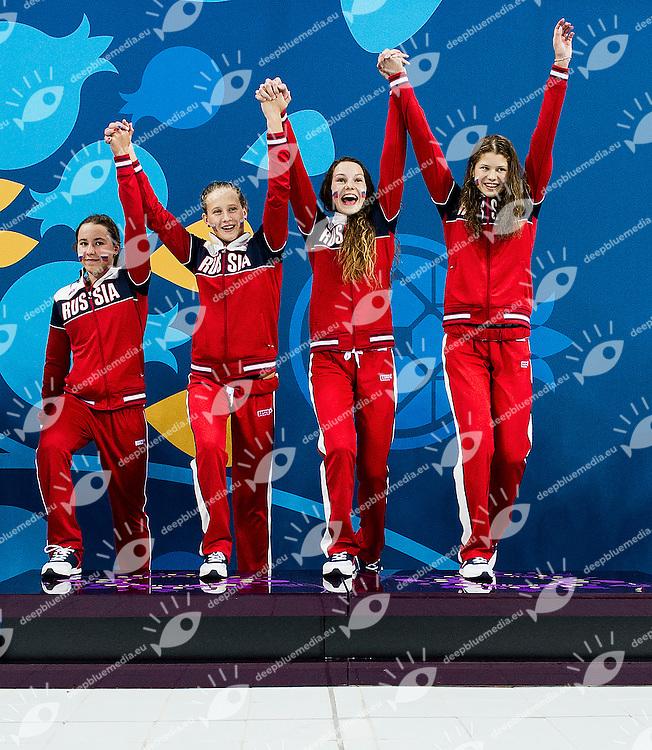 KAMENEVA Mariia ASTASHKINA Maria EGOROVA Polina OPENYSHEVA Arina RUS<br /> 4X100 Relay Medley Final Swimming Gold Medal<br /> 1st European Olympic Games <br /> Baku Azerbaijan 12-28/08/2015<br /> Photo Andrea Masini/Deepbluemedia/Insidefoto