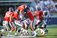 Central Arkansas' Jesse Grandy (2) is tackled on the opening kickoff at Vaught-Hemingway Stadium in Oxford, Miss. on Saturday, September 1, 2012.