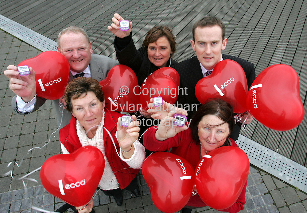 CALLING ALL WEXFORD PEOPLE TO GET ON THE MOVE..As Ecco Shoes & the Irish Heart Foundation join forces to get .'Ireland on the Move'..Leading suppliers of comfort walking shoes, Ecco Shoes and the Irish Heart Foundation has today, 14th October 2005, launched a joint national campaign entitled 'Ireland on the Move'. The idea behind the exciting new campaign is to encourage people to take a few extra steps each day to promote healthier hearts!.Ecco shoes will be selling step counters for EUR2 at Ecco stockists in Wexford.  Proceeds of each sale will go directly to the Irish Heart Foundation. The step counters record how many steps an individual takes each day and will encourage Irish people to walk the recommended 10,000 steps a day to maintain a healthy heart...Pictured at the launch in Wexford was Back from left Ed Hickey Sales Director Ecco shoes, Catherine O'Leary, Regional Manager Irish Heart Foundation  and Mark Shaws, Shaws Main Street Wexford..Front from left Eithne Malone, Cardiomyopathy support group  and Barbara Murphy, Triple gold medallist European Transplant games..Picture Dylan Vaughan