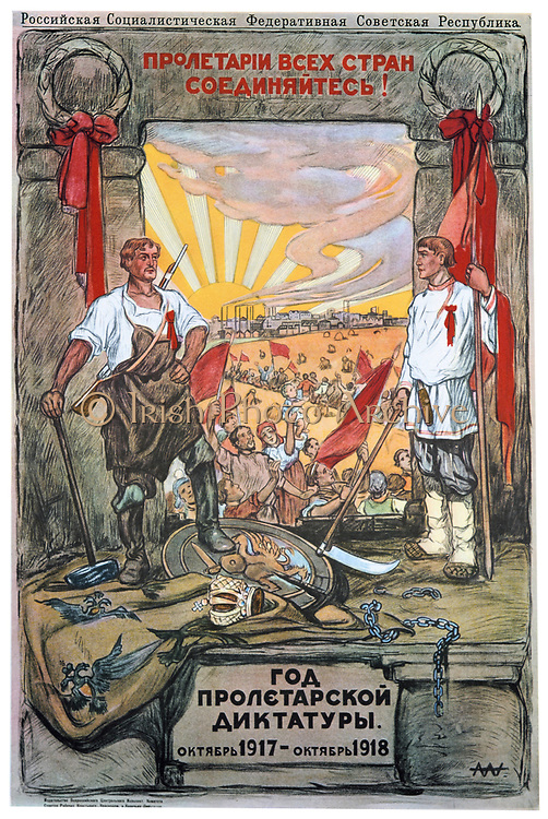 The Year of Proletarian Dictatoship, October 1917-1918. Soviet propaganda poster by Alexandre Apsit. Russia USSR  Communism Communist