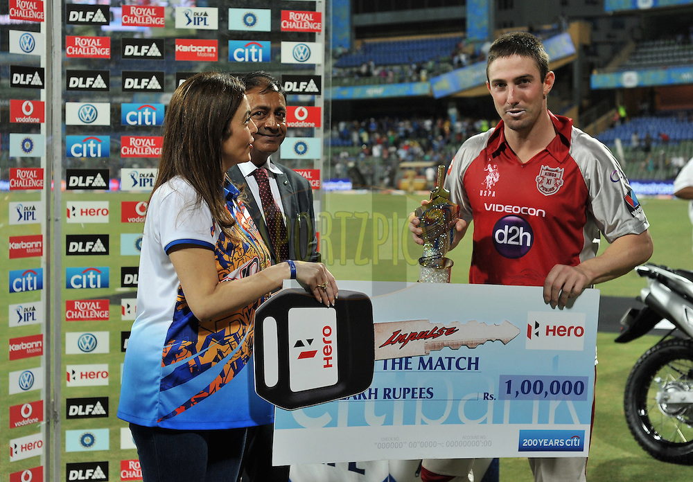 Shaun Marsh of Kings XI Punjab receives the man of the match award during match 28 of the Indian Premier League ( IPL) 2012  between The Mumbai Indians and the Kings X1 Punjab held at the Wankhede Stadium in Mumbai on the 22nd April 2012..Photo by Pal Pillai/IPL/SPORTZPICS.