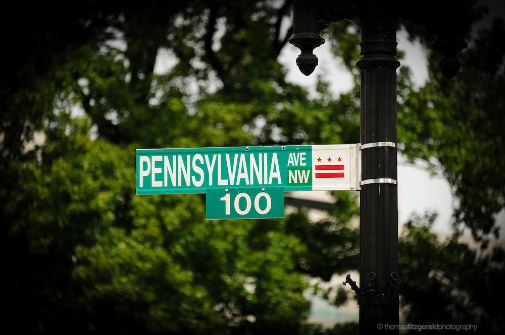 Pennsylvania Avenue Street Sign against a backdrop of Trees in Washington DC