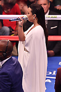 LAS VEGAS, NV - AUGUST 26:  Singer/songwriter Demi Lovato performs the American national anthem prior to the super welterweight boxing match between Floyd Mayweather Jr. and Conor McGregor on August 26, 2017 at T-Mobile Arena in Las Vegas, Nevada. (Photo by Jeff Bottari/Zuffa LLC/Zuffa LLC via Getty Images)