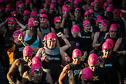 COLUMBIA, MD -- 5/20/12 - The first wave of amateur women wade into the water to prepare for the start... The 29th Annual Columbia Triathlon. Endurance athletes participate in a 1.5K swim – 41K bike – 10K run with professional triathletes for a $30,000 prize purse. …by André Chung #AC2_6552