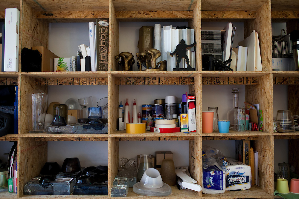 Shelves are filled with materials, ideas and works in progress in the office of Emiliano Godoy in Mexico City.