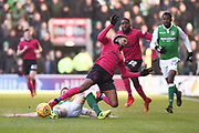 Scott Sinclair is tackled by Steven Whittaker during the Ladbrokes Scottish Premiership match between Hibernian and Celtic at Easter Road, Edinburgh, Scotland on 10 December 2017. Photo by Kevin Murray.