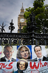 © Licensed to London News Pictures. 01/07/2017. London, UK. A poster mocking former Prime Ministers Tony Blair, David  Cameron, Margaret Thatcher and current Prime Minister Theresa May are placed outside Parliament during the People's Assembly anti-austerity demonstration. Photo credit: Peter Macdiarmid/LNP