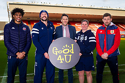 Bristol Flyers Justin Gray, Bristol Bears Joe Latta, Good 4 U's Karol Butler and Bristol Bears Women Kim Oliver, Bristol City Frankie Fielding - Ryan Hiscott/JMP - 09/01/2019 - COMMERCIAL - Ashton Gate - Bristol, England - Bristol Sport Announce Sponsor Partnership with Good 4 U