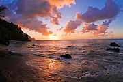 Sunset and the Na Pali Coast from Hideaways Beach, Island of Kauai, Hawaii