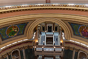 High angle interior view of the Wisconsin State Capitol Building, Madison, Wisconsin, USA.