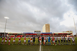The two sides shake hands - Photo mandatory by-line: Rogan Thomson/JMP - 07966 386802 - 20/12/2014 - SPORT - FOOTBALL - Crewe, England - Alexandra Stadium - Crewe Alexandra v Bristol City - Sky Bet League 1.