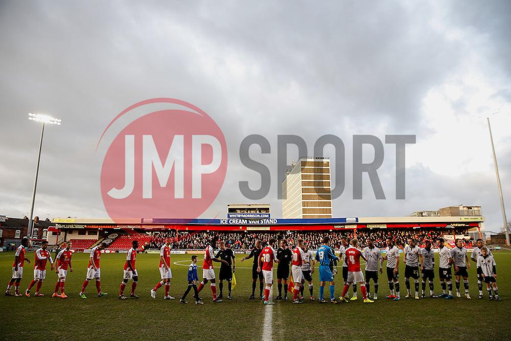 The two sides shake hands - Photo mandatory by-line: Rogan Thomson/JMP - 07966 386802 - 20/12/2014 - SPORT - FOOTBALL - Crewe, England - Alexandra Stadium - Crewe Alexandra v Bristol City - Sky Bet League 1.