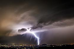 22.07.2016, Neue Welt, Unterpremstätten, AUT, Gewitter über Graz, im Bild ein Blitzeinschlag in der Nähe des Schlossberg in der Innenstadt von Graz am 22. Juli 2016 während eines Gewitters, EXPA Pictures © 2016, PhotoCredit: EXPA/ Erwin Scheriau