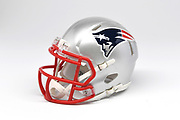 Detailed view of  New England Patriots helmet.