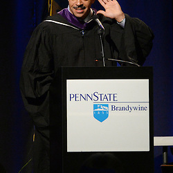 Staff photos by Tom Kelly IV<br /> The Spring Commencement at Penn State University's Brandywine Campus was held Saturday morning, May 9, 2015 in the Commons / Athletic Center at the school in Middletown Township.  Here, R. Seth Williams, the District Attorney for the City of Philadelphia and the commencement speaker, says &quot;We Are&quot; and awaits the &quot;Penn State&quot; chant from the graduates.