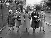 Farmers Wives and Daughters at British Embassy.1982.04.03.1982 .03.04.1982.4th March 1982.Image of a delegation of wives and daughters from the South Tipperary Farm Family Committee arrive at the British Embassy. They are lobbying support from E.E.C. member states for IFA demands for better prices for Irish farm products. They were met by the British Ambassador, Sir Leonard Figg..From left, Eleanor Dwyer, Ballytarsna, Cashel group leader..Marie Mc Cann Ballyowen, Cashel.Pearl Holt, Carbery, Kildare.Eileen Barry, Clonulty, Cashel.Bridget Devane, Clonulty, Cashel.