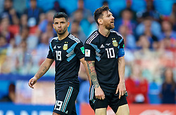 MOSCOW, RUSSIA - Saturday, June 16, 2018: Argentina's Lionel Messi (right) and Sergio Aguero (left) look dejected during the FIFA World Cup Russia 2018 Group D match between Argentina and Iceland at the Spartak Stadium. Messi missed a penalty in a game that finished in a 1-1 draw. (Pic by David Rawcliffe/Propaganda)